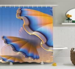 Kabuk Desenli Duş Perdesi Fraktal Mavi Turuncu Şık