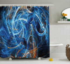 Duvar Kağıdı Desenli Duş Perdesi Fraktal Mavi Şık