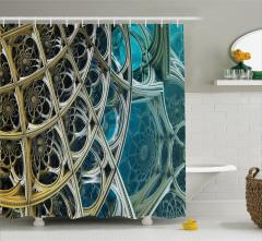 Fraktal Tasarımlı Duş Perdesi Mavi Sarı Şık Tasarım