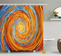 Spiral Fraktal Desenli Duş Perdesi Turuncu Mavi Şık