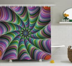 Rengarenk Desenli Duş Perdesi Fraktal Geometrik