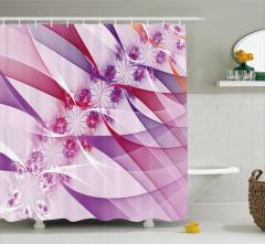 Mor Çiçek Desenli Duş Perdesi Fraktal Şık Tasarım