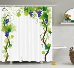 Üzüm Desenli Duş Perdesi Yeşil Mavi Beyaz Yaprak Şık