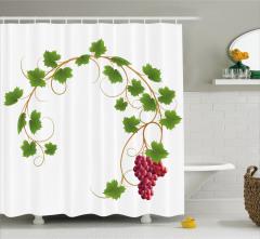Kırmızı Üzüm Desenli Duş Perdesi Yeşil Yaprak Beyaz