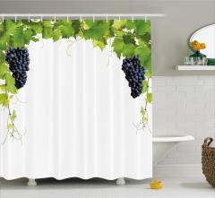 Üzüm Temalı Duş Perdesi Şık Tasarım Beyaz Yeşil