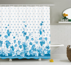 Üzüm ve Çiçek Desenli Duş Perdesi Mavi Yaprak Şık