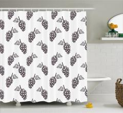 Üzüm Desenli Duş Perdesi Siyah Beyaz Yaprak Trend