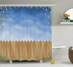 Çiçek ve Çit Desenli Duş Perdesi Mavi Gökyüzü Pembe