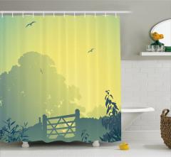Sisli Kır Manzarası Temalı Duş Perdesi Sarı Ağaç Kuş