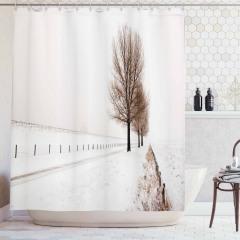 Karlı Orman Temalı Duş Perdesi Beyaz Ağaç Gökyüzü