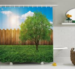 Ağaç ve Gökyüzü Temalı Duş Perdesi Yeşil Mavi Çimen