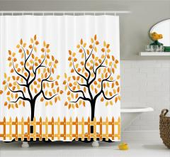 Turuncu Ağaç Desenli Duş Perdesi Şık Tasarım Yaprak