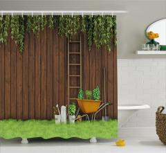 Ahşap Çit ve Bahçe Manzaralı Duş Perdesi Kahverengi