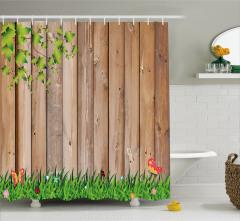 Ahşap Çit Temalı Duş Perdesi Kelebek Kahverengi