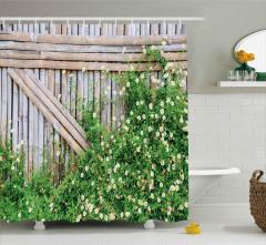 Papatya Temalı Duş Perdesi Kahverengi Yeşil Doğa