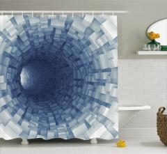 Mavi Tünel Desenli Duş Perdesi 3D Etkili Uzay Gemisi
