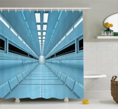 Mavi Koridor Desenli Duş Perdesi Uzay Gemisi Bilim