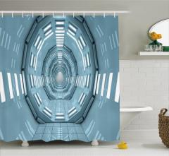 Uzay İstasyonu Temalı Duş Perdesi Mavi Koridor Bilim