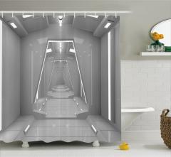 Uzay İstasyonu Temalı Duş Perdesi Gri 3D Etkili