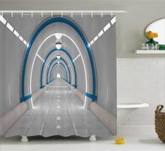 3D Etkili Duş Perdesi Uzay İstasyonu Temalı Gri