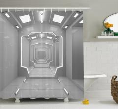 Gri Koridor Temalı Duş Perdesi Uzay Fütüristik Bilim