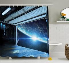 Uzay Gemisi Temalı Duş Perdesi Mavi Dünya Bilim