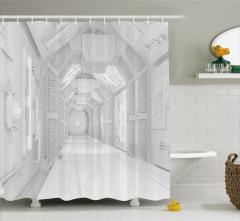 Uzay Koridoru Temalı Duş Perdesi 3D Etkili Beyaz