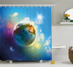 Dünya ve Ay Temalı Duş Perdesi Yıldız Mavi Bulut