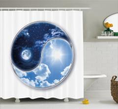 Ay ve Güneş Temalı Duş Perdesi Yin Yang Mavi Yıldız