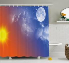 Güneş Ay ve Yıldız Temalı Duş Perdesi Mavi Turuncu