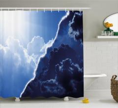 Bulut ve Gökyüzü Temalı Duş Perdesi Mavi Gündüz Gece