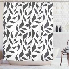 Yaprak Desenli Duş Perdesi Siyah Beyaz Gri Trend