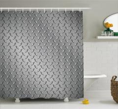 Metal Temalı Duş Perdesi Gri Gümüş Şık Tasarımlı