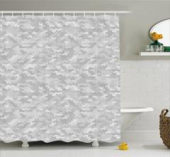 Gri Geometrik Desenli Duş Perdesi Şık Tasarım Trend