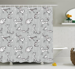 Kedi Desenli Duş Perdesi Gri Şık Tasarım Sevimli