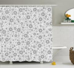 Çiçek ve Yıldız Desenli Duş Perdesi Gri Şık Tasarım