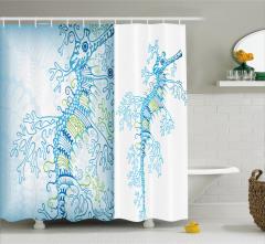Denizatı Desenli Duş Perdesi Mavi Beyaz Şık Tasarım