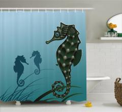 Denizatı Desenli Duş Perdesi Mavi Şık Tasarım Su