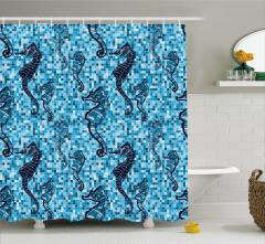 Denizatı Desenli Duş Perdesi Mavi Mozaik Zemin Şık