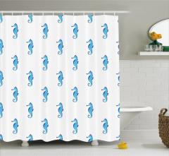 Mavi Denizatı Desenli Duş Perdesi Trend Sulu Boya