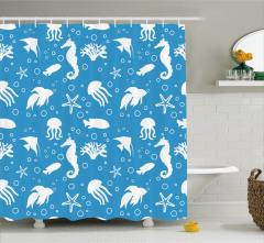 Balık ve Denizatı Desenli Duş Perdesi Mavi Beyaz