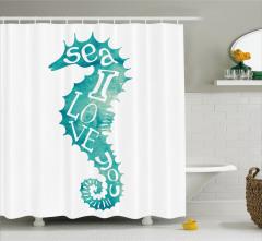 Denizatı Desenli Duş Perdesi Yeşil Beyaz Şık Tasarım
