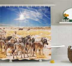 Zebra ve Gökyüzü Temalı Duş Perdesi Sarı Mavi Şık