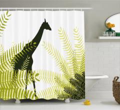 Zebra Desenli Duş Perdesi Yaban Hayatı Temalı Yeşil