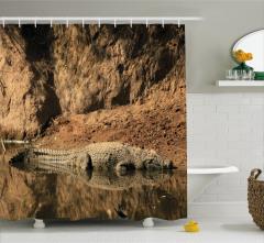 Timsah Temalı Duş Perdesi Kahverengi Afrika Hayvan