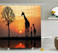 Zürafa Temalı Duş Perdesi Turuncu Güneş Afrika Doğa
