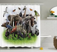 Vahşi Hayvan Temalı Duş Perdesi Fil Zürafa Gergedan