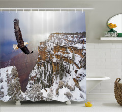 Kartal ve Karlı Dağ Temalı Duş Perdesi Kahverengi