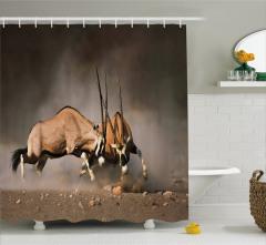 Antilop Temalı Duş Perdesi Kahverengi Vahşi Doğa
