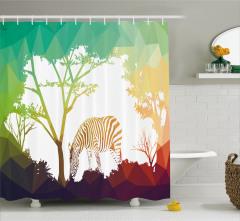 Ormandaki Zebra Temalı Duş Perdesi Yeşil Kahverengi